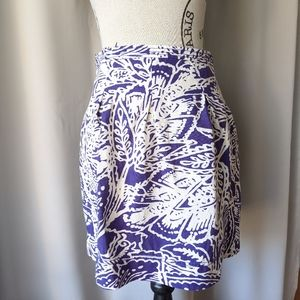 LOFT Tropical Print Skirt Purple 0P